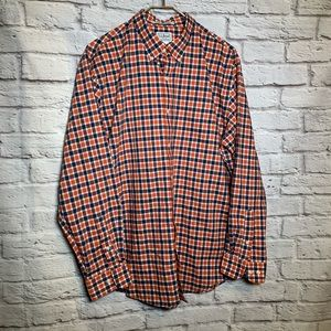 L.L. Bean men large orange navy plaid shirt 2453
